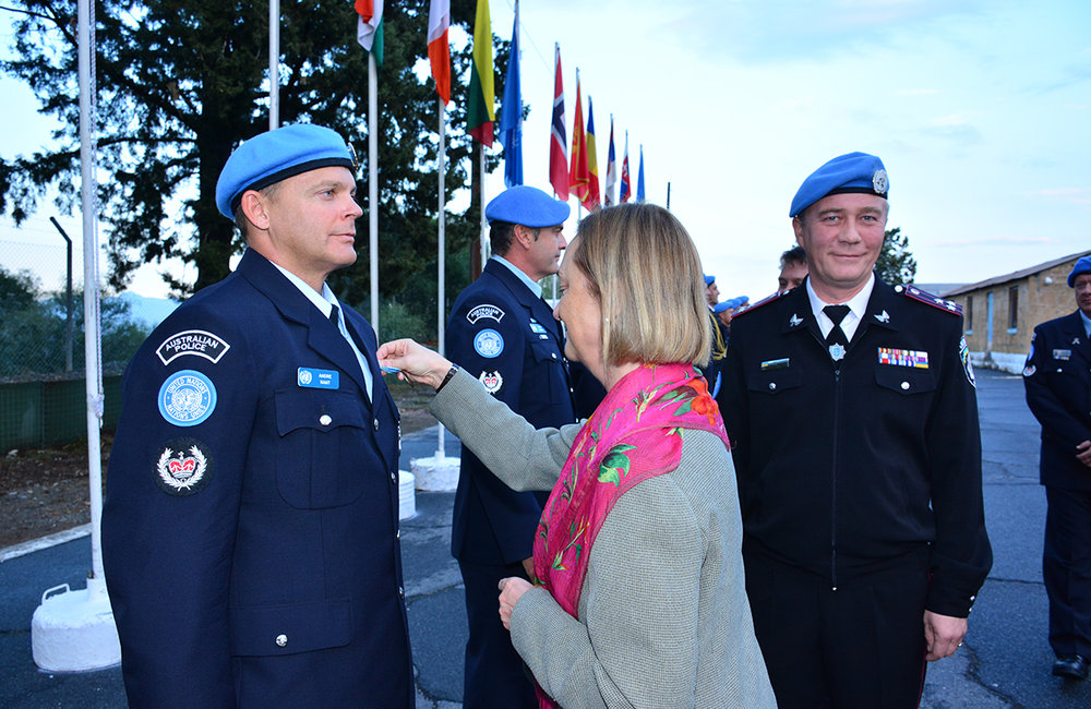 October 2015, 17 members of the United Nations Police in UNFICYP received their United Nations Medals, awarded by the United Nations Secretary-General 'In the Service of Peace'